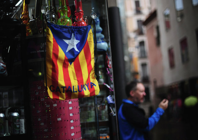 A bag with the estelada or pro independence flag is displayed in Barcelona, Spain, Monday, Nov. 10, 2014