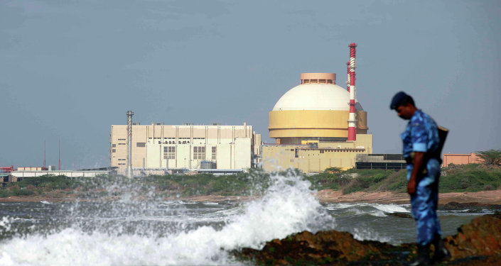 A paramilitary soldier stands near the Russian-built Kudankulam Atomic Power Project, at Kudankulam, about 700 kilometers (440 miles) south of Chennai, Tamil Nadu state, India