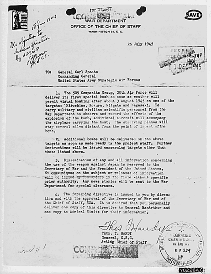 Letter received from General Thomas Handy to General Carl Spaatz authorizing the dropping of the first atomic bomb.