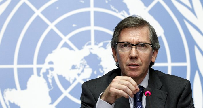 Special Representative of the Secretary-General for Libya and Head of United Nations Support Mission in Libya (UNSMIL) Bernardino Leon speaks at the Palais des Nations in Geneva, August 11, 2015