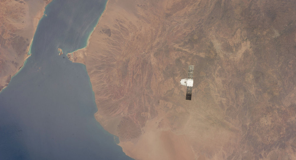Dragon Capsule Over Gulf of Aden, Red Sea