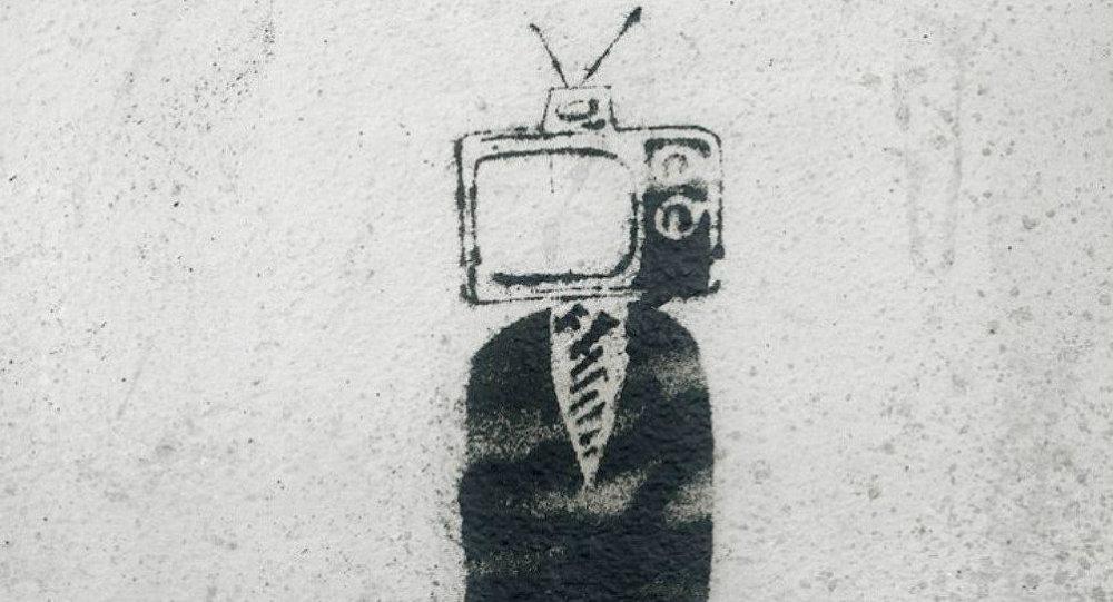 TV Man in the Autumn - Stencil