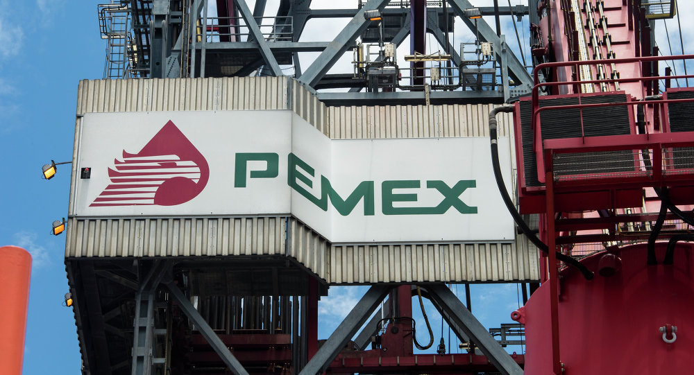 The PEMEX logotype on the tower of the drilling tower of La Muralla IV exploration oil rig, operated by Mexican company Grupo R and working for Mexico's state-owned oil company PEMEX