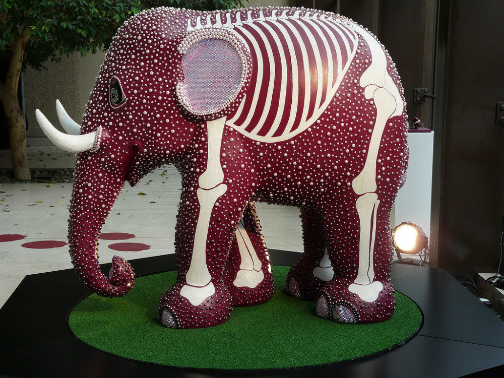 'Pearly Prince' elephant at Coutts Bank, The Strand