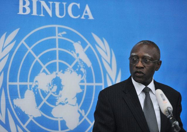 General Babacar Gaye, the United Nations secretary general's representative to Central African Republic, speaks on February 6, 2014, at the BINUCI (United Nations Integrated Peacebuilding Office in the Central African Republic) headquarters in Bangui