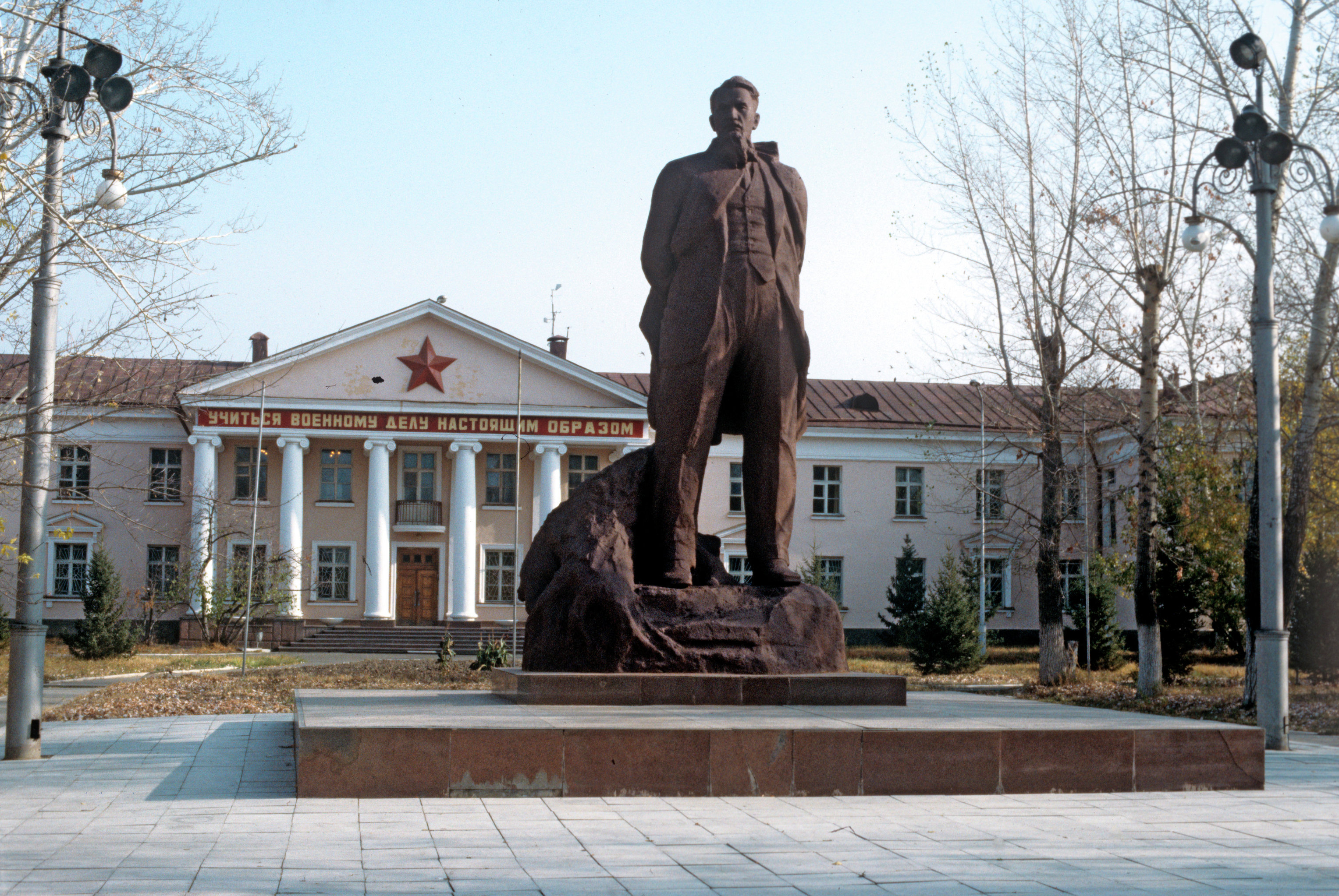 A monument at the Polygon to Academician Igor Kurchatov, one of the developers of nuclear weapons and founder of the Semipalatinsk nuclear test site.