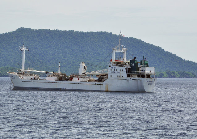Thai-owned cargo ship Silver Sea 2 is anchored off an Indonesian Navy base in Sabang, Aceh province, Indonesia.
