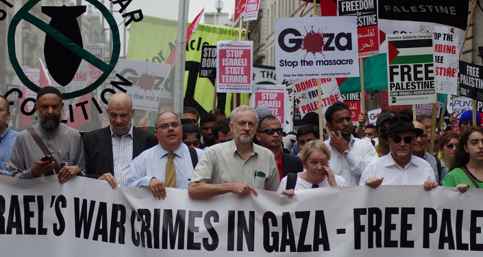 Jeremy Corbyn fronts a London protest calling for Israel to stop its assault on Gaza in  July 2014.