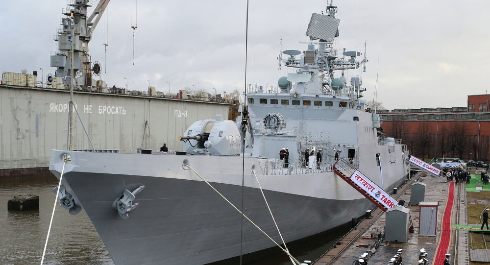The frigate Tarkash (Quiver) at the pier of the Baltic Shipyard Yantar factory for the formal ceremony transferring the ship to the Naval forces of India