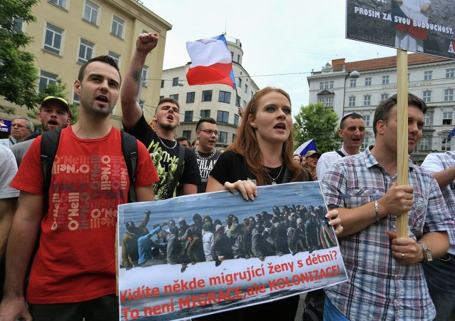 Ant-migrants protesters attend an anti-Islam and immigration rally on June 26, 2015 in Brno, Czech Republic
