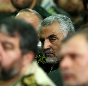 Iranian supreme leader, then chief of the Quds Force of Iran's Revolutionary Guard, Ghasem Soleimani, attends a meeting of the commanders of the Revolutionary Guard with Supreme Leader Ayatollah Ali Khamenei in Tehran, Iran. File photo