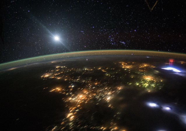 An astronaut flying over Central America in the International Space Station earlier this month captured this photo of the nighttime sky above Earth.