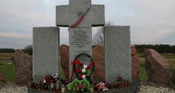 Monument featuring the names of those killed in the village of Huta Pieniacka, present-day Ukraine, one of hundreds of Polish settlements destroyed by Ukrainian fascists during the Second World War.