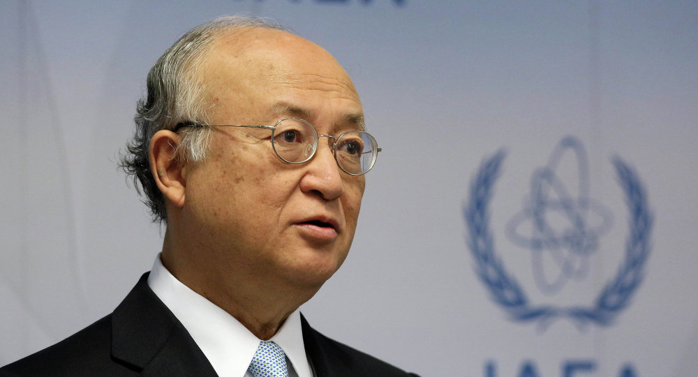 Director General of the International Atomic Energy Agency, IAEA, Yukiya Amano of Japan speaks during a news conference after a meeting of the IAEA board of governors at the International Center in Vienna, Austria