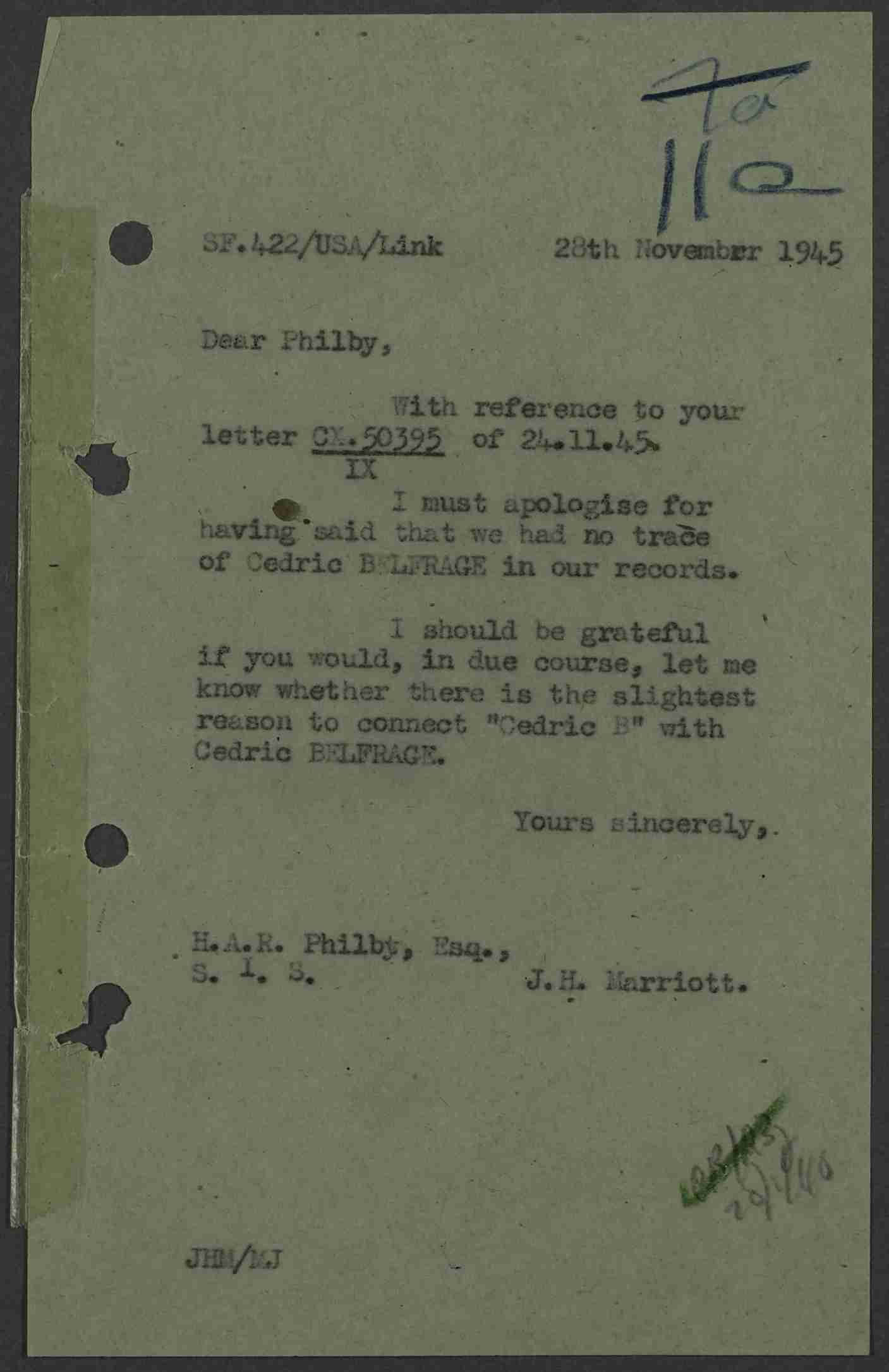 Letter to Philby