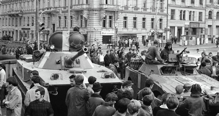 Soviet tanks in Prague during the Prague Spring, August 21, 1986. File photo
