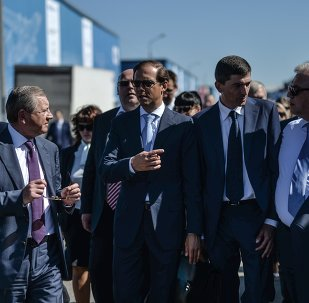 Russian Minister of Industry and Trade Denis Manturov (center) attends the final rehearsal of the opening of the MAKS 2015 International Aviation and Space Salon
