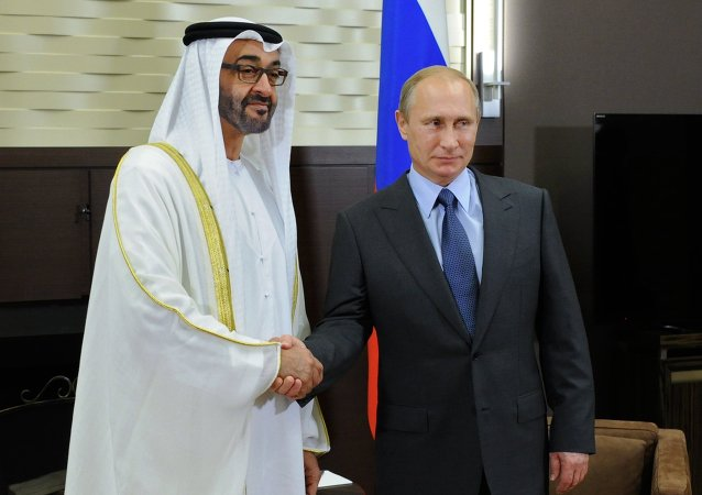 Russian President Vladimir Putin met with Gen. Mohammed bin Zayed bin Sultan Al Nahyan, the Crown Prince of Abu Dhabi, Thursday, discussing bilateral ties and the situation in the Middle East.