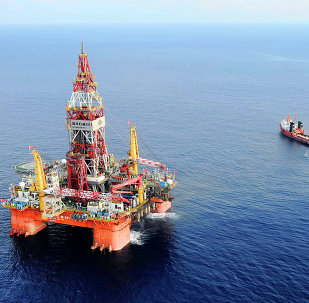 Haiyang Shiyou oil rig 981, the first deep-water drilling rig developed in China, is pictured at 320 kilometers (200 miles) southeast of Hong Kong in the South China Sea.