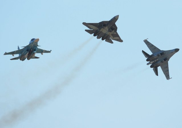 Su-34 (left), T-50 (centre) and Su-35 (right) aircraft at the 2015 MAKS air show's opening ceremony in the Moscow suburban town of Zhukovsky.