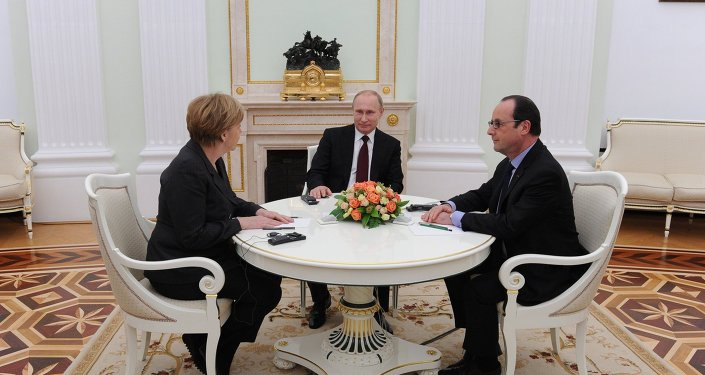 Russian President Vladimir Putin holds meeting with FRG Chancellor Angela Merkel and President of France Francois Hollande