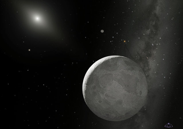 This NASA handout obtained October 21, 2009 shows an artist's concept of the Kuiper Belt Object nicknamed Xena, with its moon dubbed Gabrielle just above