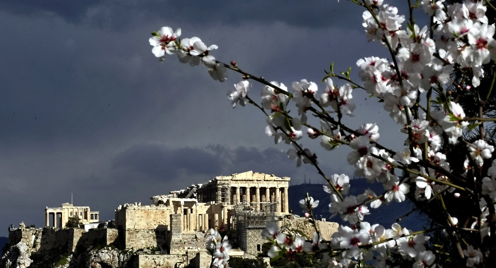 The Athens Acropolis is seen behind a branch of a blooming tree