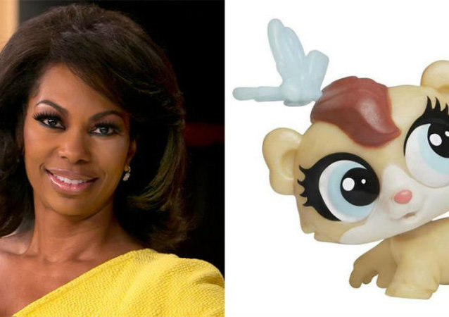 Fox News anchor Harris Faulkner (left) and Hasbro-manufactured toy Harris Faulkner