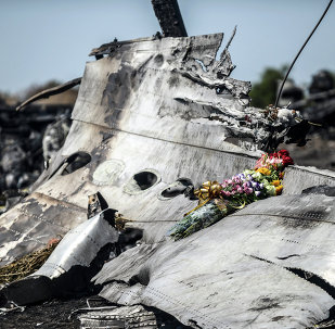 This photo taken on July 26, 2014 shows flowers, left by parents of an Australian victim of the crash, laid on a piece of the Malaysia Airlines plane MH17, near the village of Hrabove (Grabove), in the Donetsk region