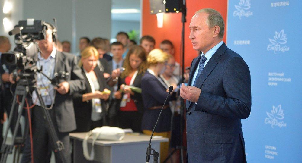 September 4, 2015. Russian President Vladimir Putin addresses journalists at the the Eastern Economic Forum in Vladivostok.