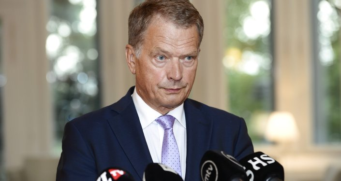 Finnish President Sauli Niinisto speaks to media in Helsinki, Finland