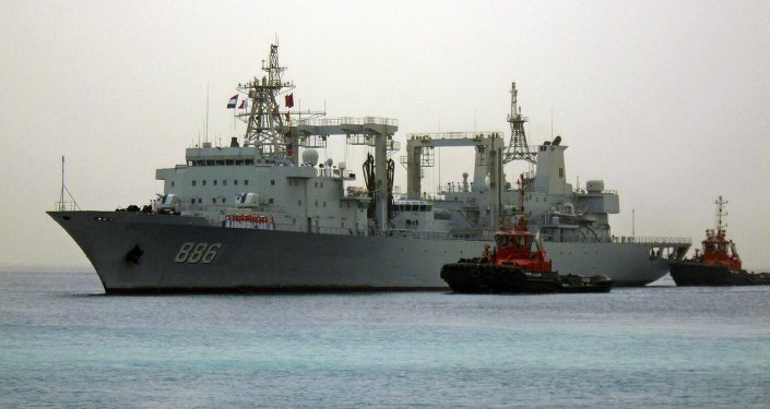 Chinese navy warships arrive at the seaport of Port Sudan August 25, 2015.