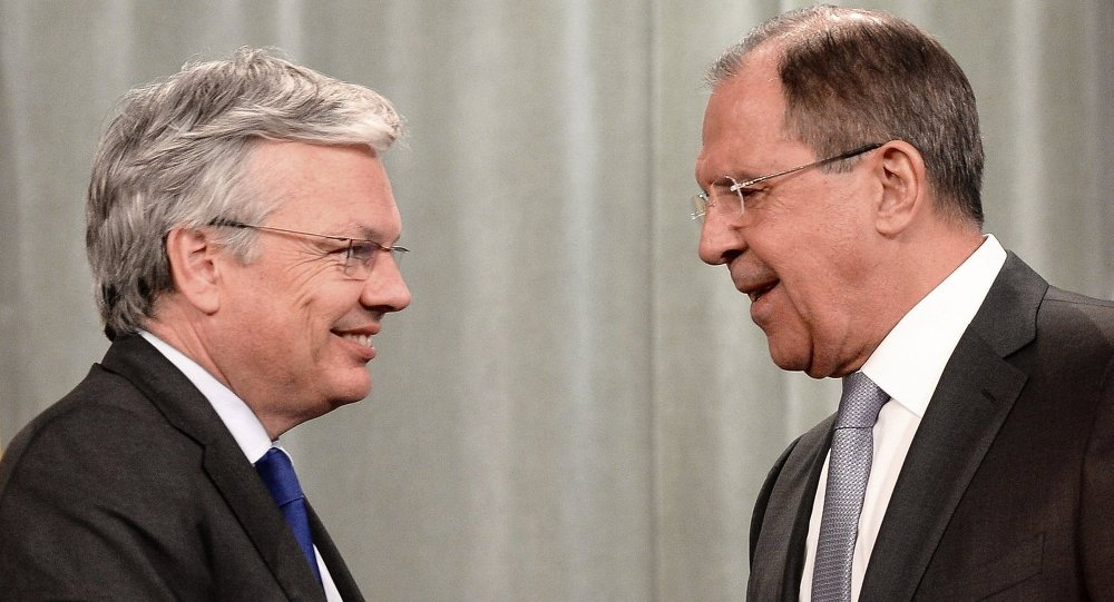 Russian Foreign Minister Sergey Lavrov, right, and Belgian Foreign Minister, Chairman of the Committee of Ministers of the Council of Europe Didier Reynders after a news conference in Moscow