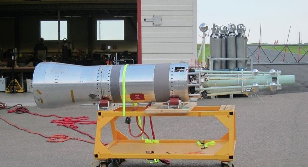 The forward section of the experimental rocket, showing several of the scientific instruments that will measure the dusty plasma