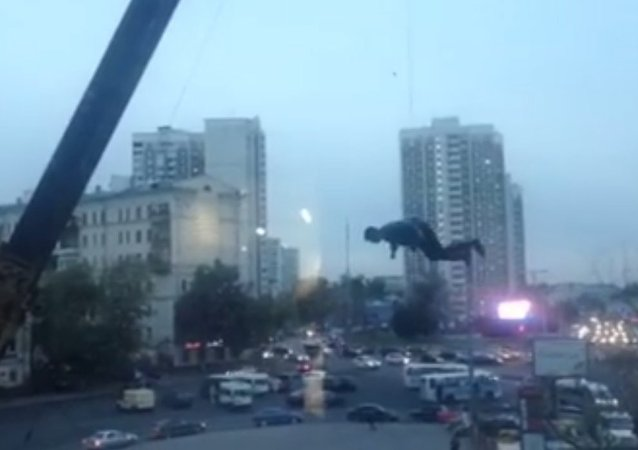 Flying man in Moscow