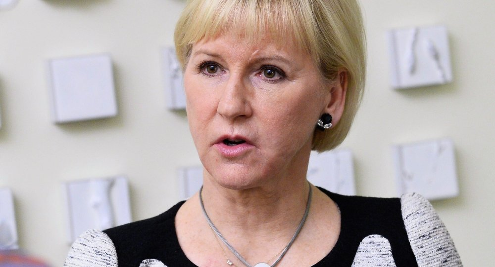 Sweden's Foreign Minister Margot Wallstrom talks to journalists after a meeting with representatives of the Swedish business community at the Ministry of Enterprise and Innovation in Stockholm, Sweden, on March 19, 2015