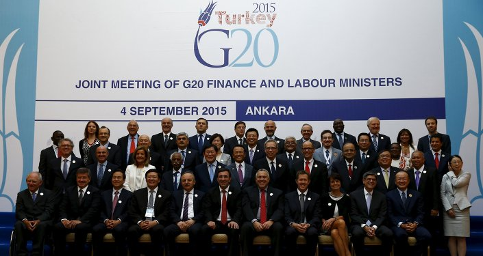 Finance and labour ministers gather for a group photo of the G20 Joint Meeting of Finance and Labour Ministers in Ankara, Turkey, September 4, 2015