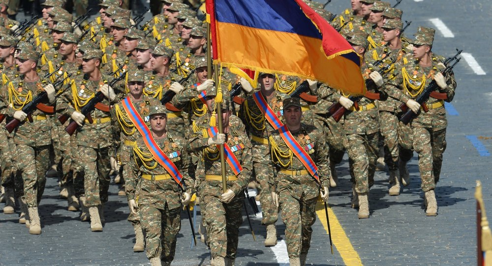 Armenia soldiers at the military parade to mark the 70th anniversary of Victory in the 1941-1945 Great Patriotic War.