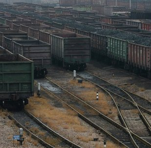Wagons for transporting coal wait to be transferred in Donetsk, eastern Ukraine.