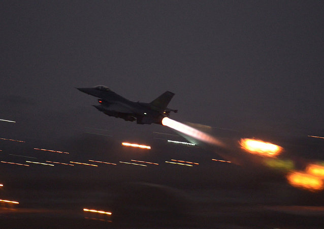 In this image provided by the U.S. Air Force, an F-16 Fighting Falcon takes off from Incirlik Air Base