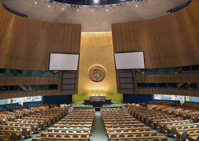 The new non-binding UN resolution sets nine principles for restructuring national debts. Above: UN General Assembly Hall.