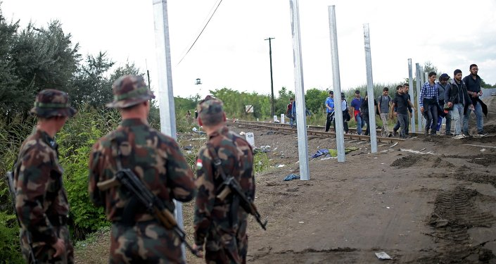 Hungarian soldiers stand guard as migrants cross at the border near Roszke, Hungary September 12, 2015