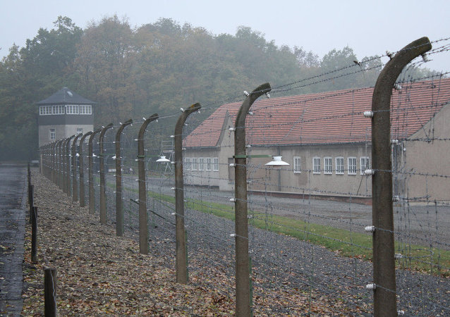 Part of the barbed wire surrounding the former Buchenwald camp