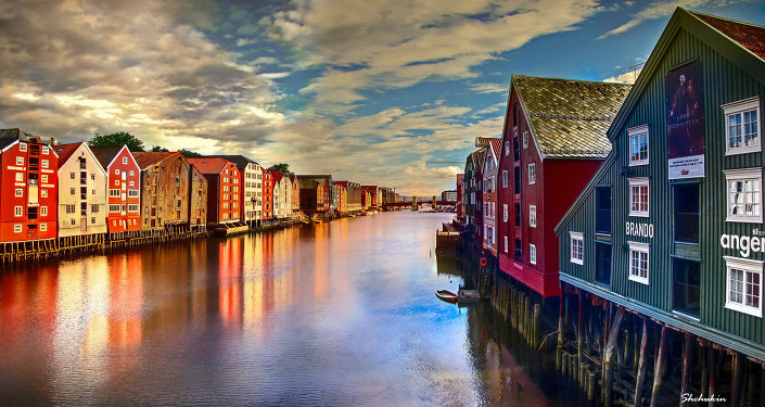 Nidelva river running through the city of Trondheim in Norway.