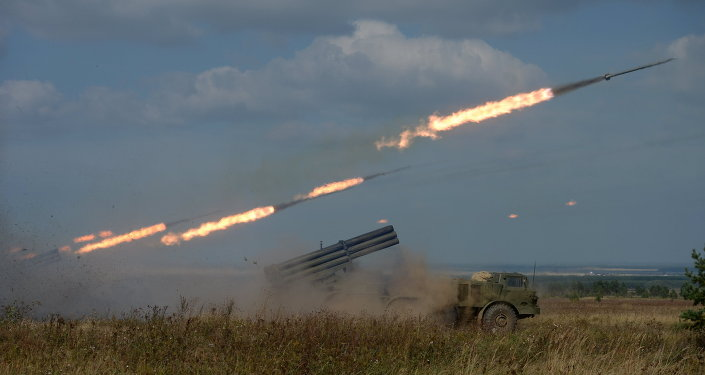 Uragan Multiple-Launch Rocket System fires during an exercise in missile strike and artillery fire control at the Chebarkul firing range of the Central Military District in the Chelyabinsk Region