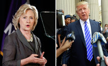 This combination of file photos shows Democratic presidential candidate Hillary Clinton(R) speaking at New York University in New York on July 24, 2015 and US Republican presidential candidate Donald Trump exiting the New York Supreme Court after morning jury duty on August 17, 2015 in New York