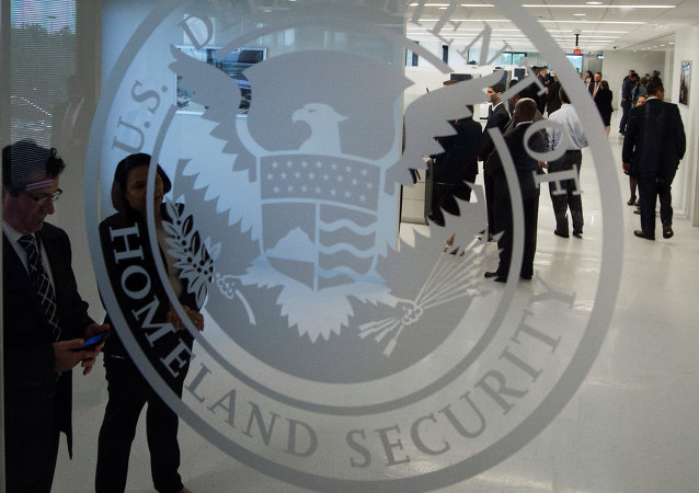 The Department of Homeland Security logo is seen at the new ICE Cyber Crimes Center expanded facilities in Fairfax, Virginia July 22, 2015.