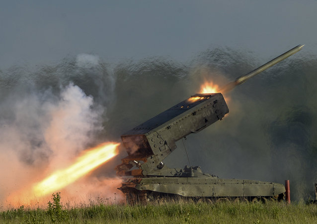 The TOS-1A heavy flamethrower system, firing a demonstration salvo at the ARMY-2015 Expo outside Moscow.