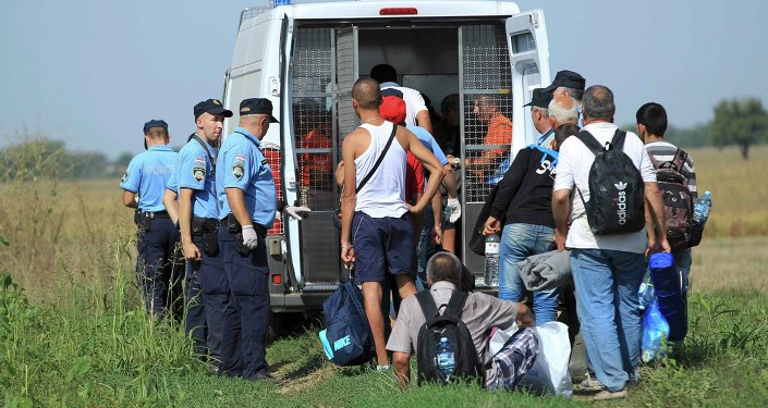 A group of migrants is gathered by Croatian police in Tovarnik, Croatia September 16, 2015