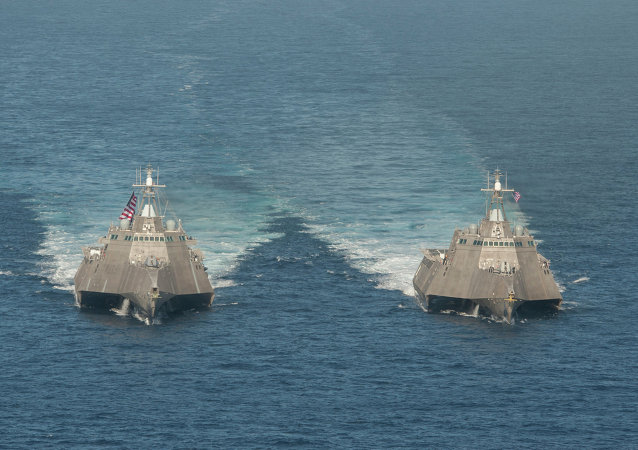 The littoral combat ships USS Independence (LCS 2), left, and USS Coronado (LCS 4)